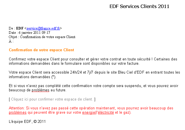Exemple de mail frauduleux imitant un message EDF