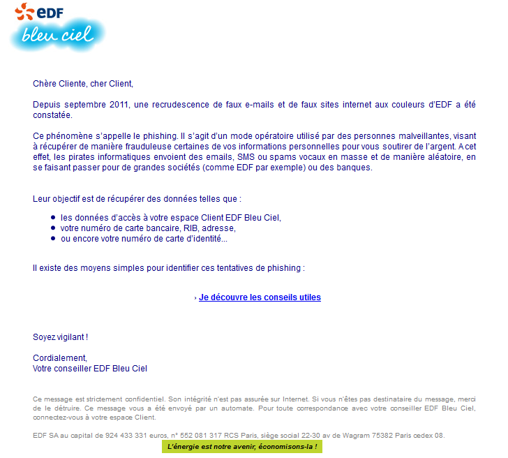 arnaque edf mail