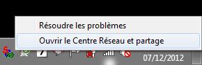 Ouvrir le Centre Réseau et partage depuis la zone de notification Windows