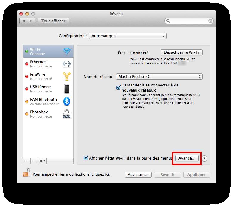 Afficher l'ordre des réseaux Wi-Fi sous Mac OS X