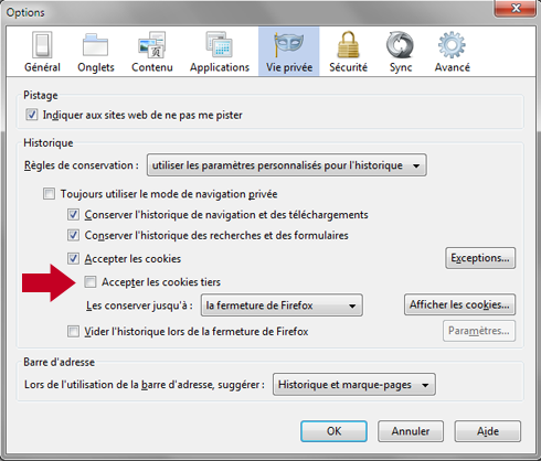 Comment dsactiver manuellement les cookies tiers sous Firefox 19