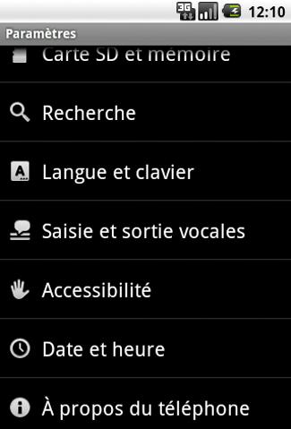 A propos du téléphone - Android