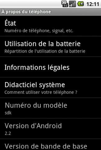 Etat du téléphone - Android