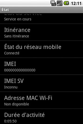 Détails sur le téléphone Android