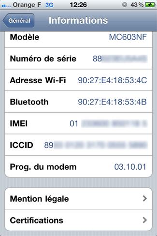 Informations Matériel et Réseau de l'iPhone