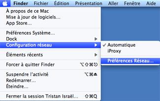 Accéder aux préférences réseau sous Mac OS