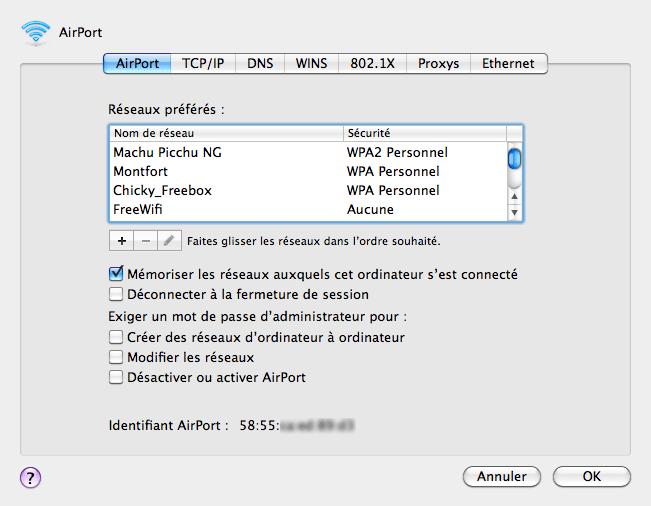 Détails d'un réseau sous Mac OS