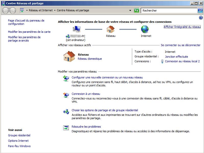 Centre réseau et partage de Windows 7 / Vista
