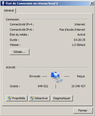 Etat de la connexion au réseau local (Windows 7 / Vista)