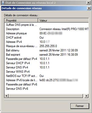 Détails de la connexion réseau sous Windows 7 / Vista