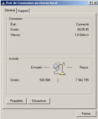 """Etat de """"connexion au réseau local"""" - Général (Windows XP)"""