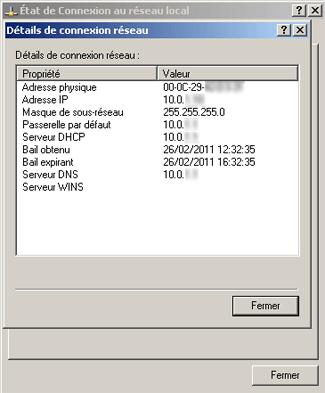 Détails de connexion réseau sous Windows XP