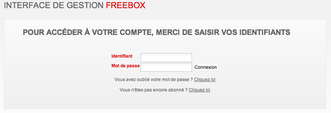 Accès Freebox - Page d'identification