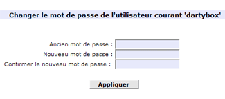 Changer le mot de passe DartyBox