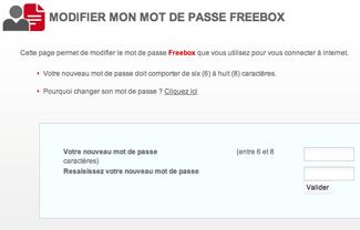 Changer le mot de passe Freebox