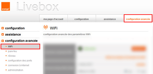 accéder menu livebox
