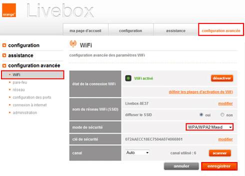 Panneau de configuration du Wi-Fi sous Livebox ZTE