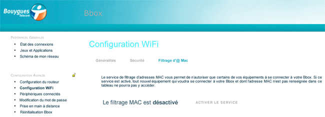 Activation du filtrage MAC sur la Bbox
