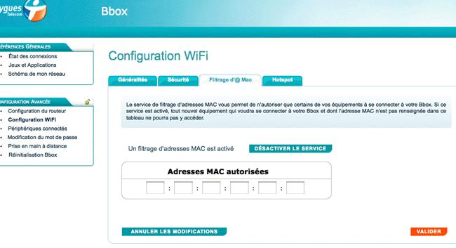 Liste des adresses MAC autorisées sur un réseau wifi Bbox
