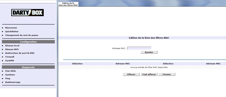 Le filtrage MAC sur DartyBox - Ajout d'adresses