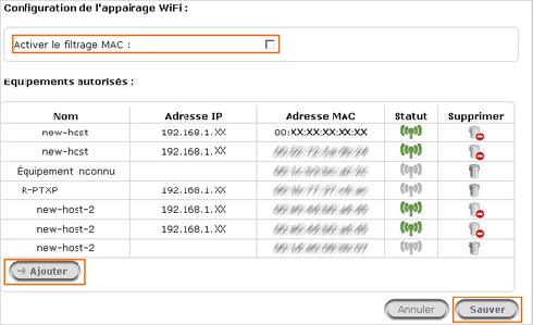Ajouter une adresse MAC au filtrage Wi-Fi Livebox 2 ZTE