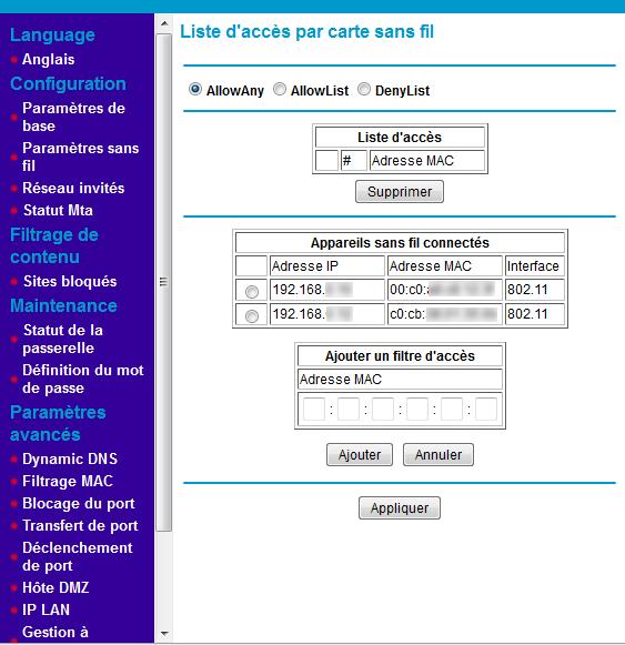 Activer et configurer le filtrage MAC sur la box Numericable