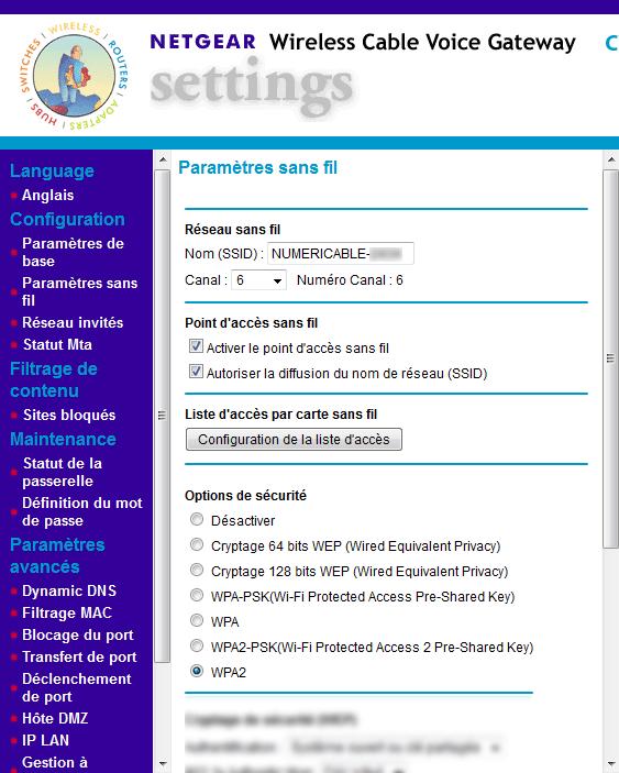 Box numericable : accéder au filtrage par adresse MAC