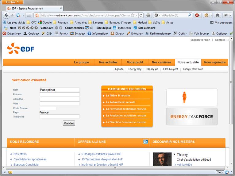 Seconde étape : un site apparemment officiel vous demande vos informations personnelles
