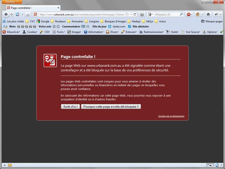 Firefox détecte désormais la page frauduleuse et alerte l'internaute sur la possibilité du phishing