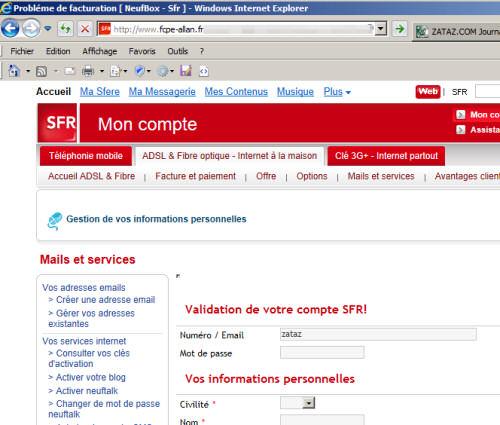 Voici une fausse page SFR. Regardez l'adresse (URL) !