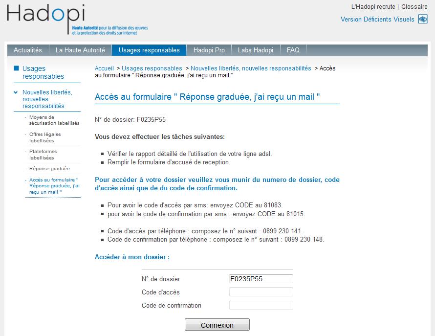 Site web frauduleux reprenant la charte graphique de hadopi.fr