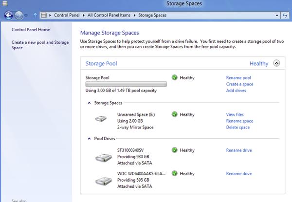 Storage Spaces permet de créer des disques durs miroirs, sauvegardes en temps réel du système d'exploitation