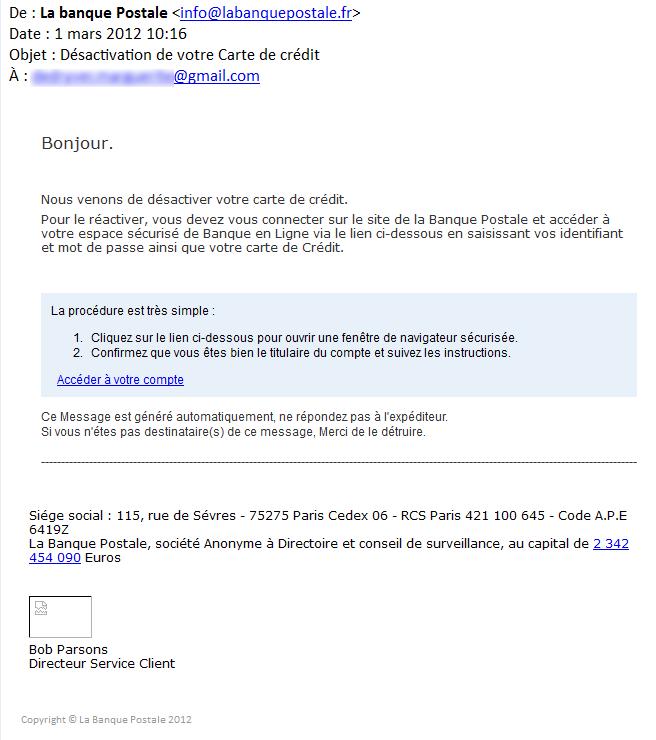 Ceci n'est pas un mail de La Banque Postale : c'est un piège de type phishing (hameçonnage)