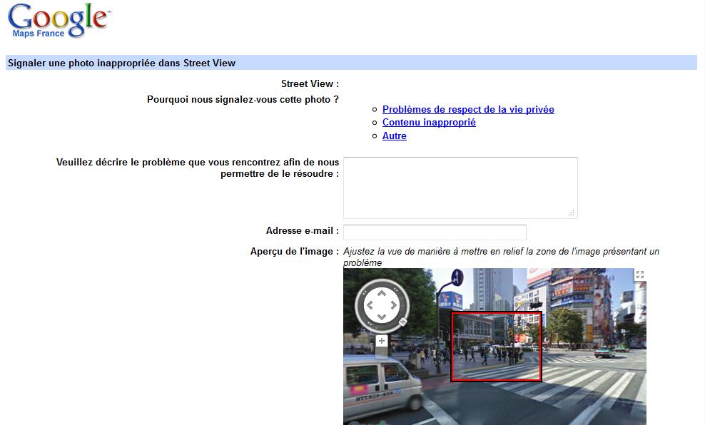 Formulaire de signalement Google Street View