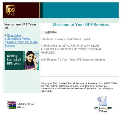 Attention, ceci n'est pas un vrai mail UPS, mais un spam vous invitant à télécharger un logiciel malveillant