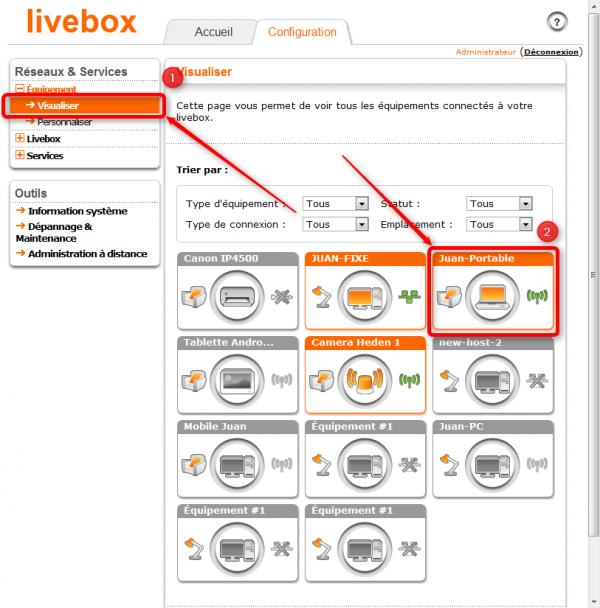 Visualiser les équipements connectés à la Livebox