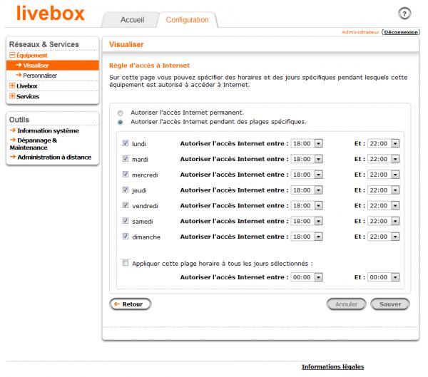 Paramétrer les horaires de connexion à la Livebox, pour chaque ordinateur