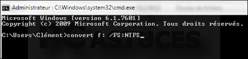Comment convertir la clé USB au format NTFS