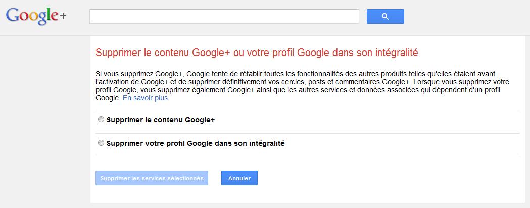 Comment supprimer mon compte Google+
