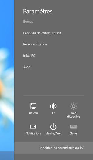 Accéder aux paramètres de l'ordinateur sous Windows 8
