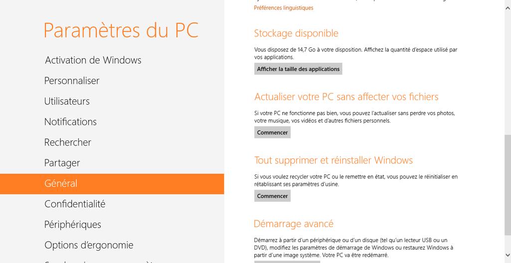 Accéder aux fonctions Actualisation et Réinitialisation de Windows 8