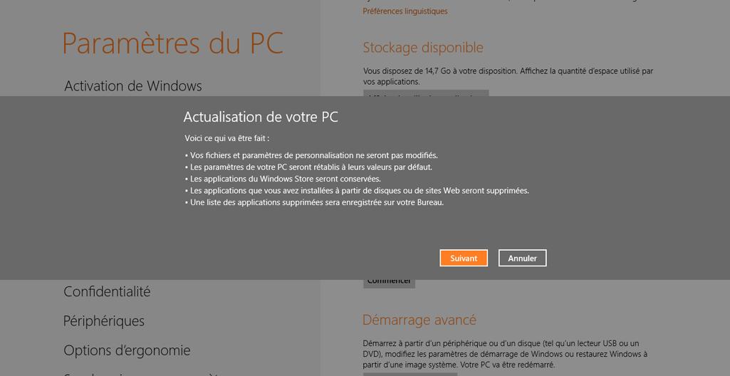 Les conséquences de l'actualisation système sous Windows 8