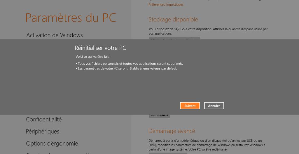 Les conséquences d'une réinitialisation système sous Windows 8