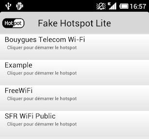 Fake Hotspot est une application qui permet de simuler un réseau Wi-Fi communautaire (Free, SFR, etc.)