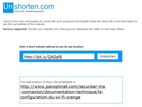 Copier-coller l'URL raccourcie dans unshorten.com pour en connaître la vraie adresse Internet