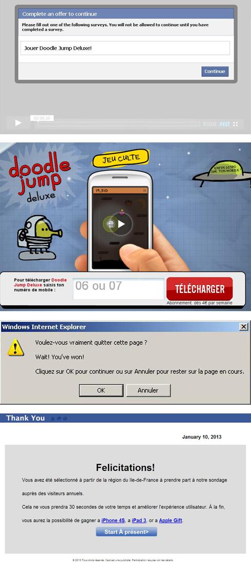 Exemple de publicités malveillantes issues du clickjacking Facebook