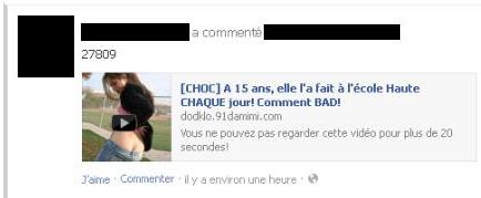 Exemple type d'un message Facebook de clickjacking