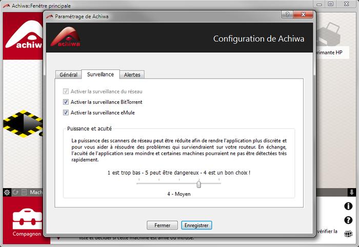 Activer le surveillance P2P dans les paramètres Achiwa