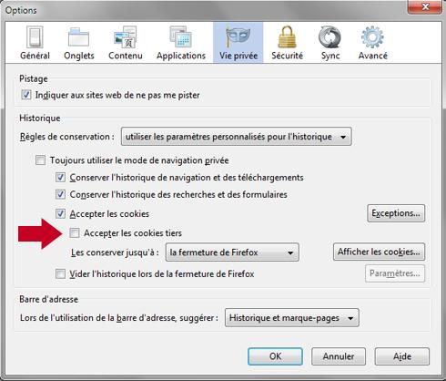 Comment désactiver manuellement les cookies tiers sous Firefox 19