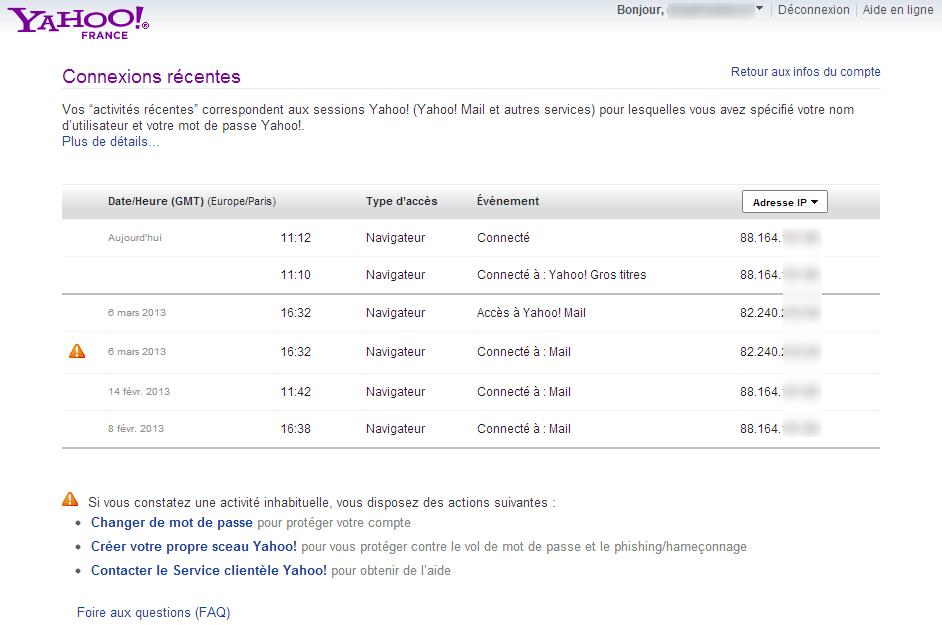 Liste des dernières connexions à mon compte Yahoo Mail, par pays ou par adresse IP